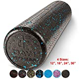 High Density Muscle Foam Rollers by Day 1 Fitness - Sports Massage Rollers for Stretching, Physical Therapy, Deep Tissue and Myofascial Release - For Exercise and Pain Relief - Speckled Blue, 24'
