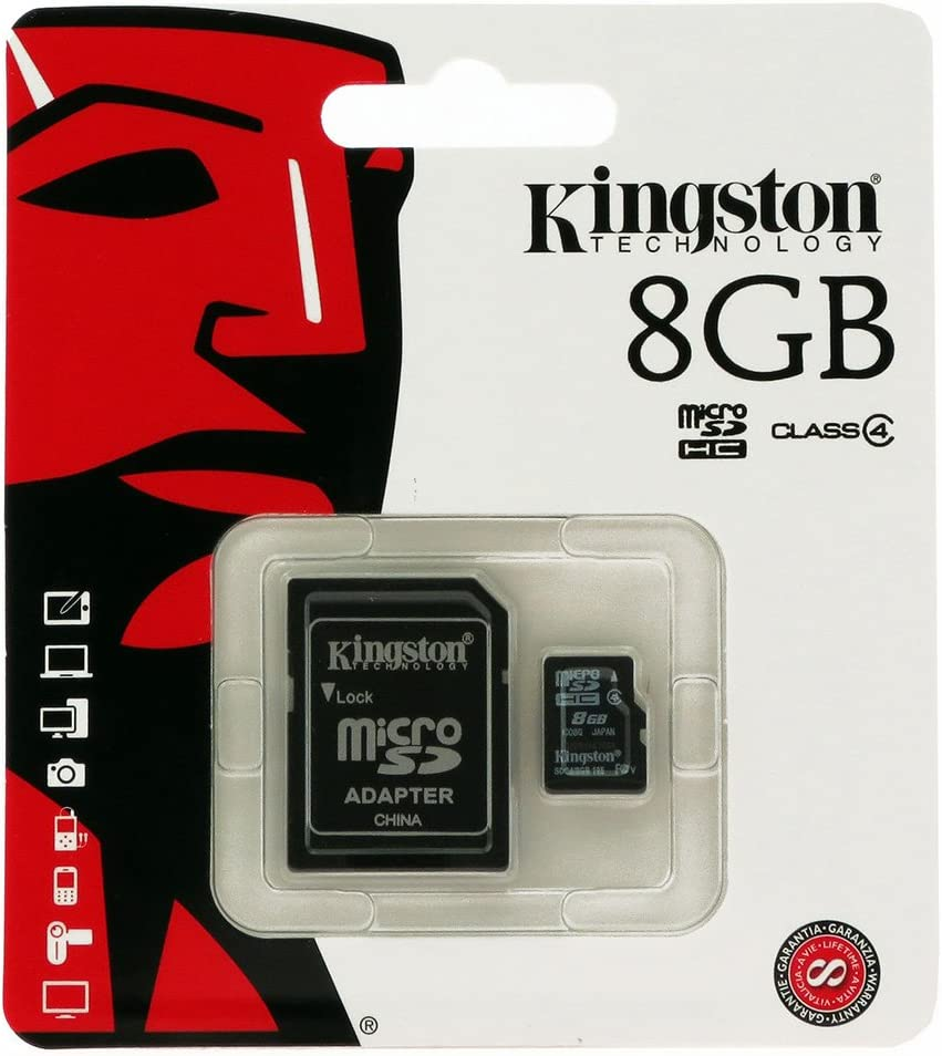 Kingston Digital 8GB microSDHC Class 4 UHS-I 45MB//s Read Card with SD Adapter SDC10G2//8GB