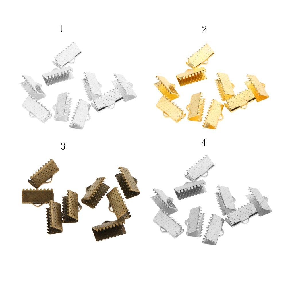 Bronze 10mm 100 Pieces Ribbon Clip Clamp Cord Crimp End Cap Tip Bracelet Connectors DIY Findings