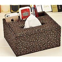 Splendid-Dream High-grade leather multifunction remote control tissue box desktop storage box napkin pumping tray (Money spent)