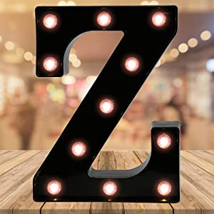 Oycbuzo Light up Letters LED Letter Black Alphabet Letter Night Lights for Home Bar Festival Birthday Party Wedding Decorative (Black Letter Z)
