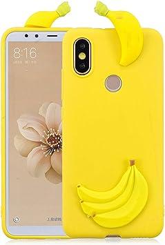 Compatible con La Funda de Silicona Gel Para Xiaomi Mi A2 / Mi 6X 3D Cartoon Plátano Fruta Cáscara Lindo Suave Ultra Delgado Flexible Cover Estuche Protección Gel Goma Bumper Niñas TPU