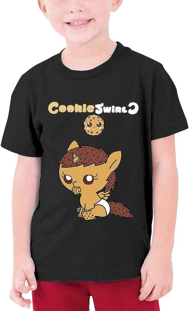 Kids Soft Cotton T Shirt Cookie Swirl Logo Stylish Crewneck Short Sleeve Tops Black