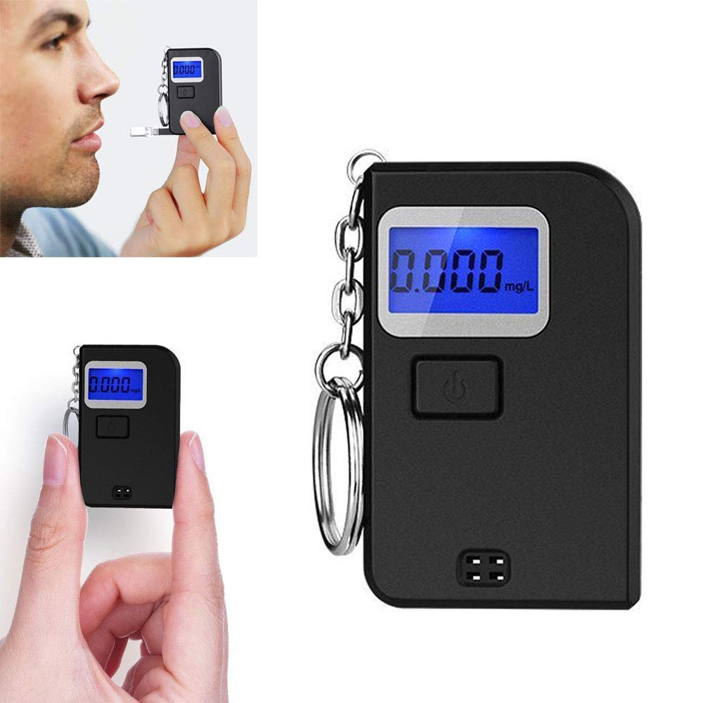 Portable Breathalyzer,Mini Keychain Alcohol Tester,Professional Digital Breathalyzer with LCD Display 5 Mouthpieces Medical Supplies Equipment Boomder