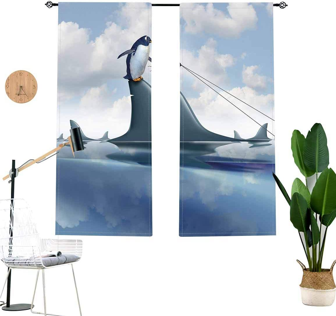 Shark Window Valance,Fear Management Leadership Concept with A Penguin Holding Shark Humor Short Curtain for Kitchen Bedroom Decor with Rod Pocket,2 Panel Set,W29 x L24 Each Panel