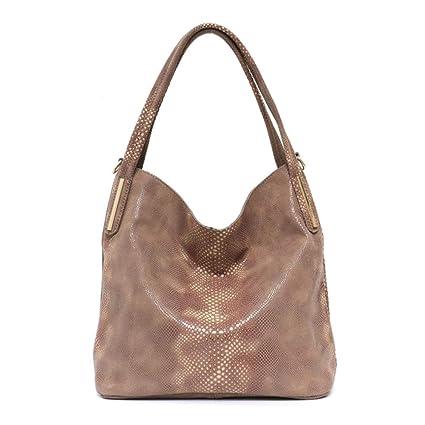 40cdc25be8de Amazon.com  BiAZbag Brand Women Leather Hobo Handbags Brown  Sports ...