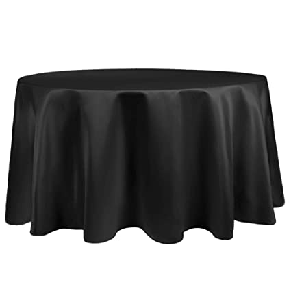 Ultimate Textile Satin 72 Inch Round Tablecloth Black