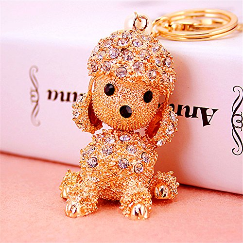 (JewelBeauty Cute Dog Rhinestone Poodle Keychain for Puppy Lovers Keyring Purse Pendant Handbag Charm (Silver))