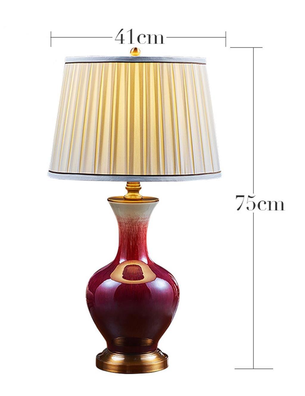 HYNH Chinesische Keramik Lampe Wohnzimmer Schlafzimmer Nachttischlampe im amerikanischen breit Kupfer Rote Lampe Jingdezhen Tischlampe Kinder Tischlampe