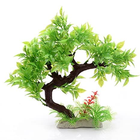 JUZIPI Decoración para Acuario con árbol de Acuario y Plantas, Decoración para pecera y pecera