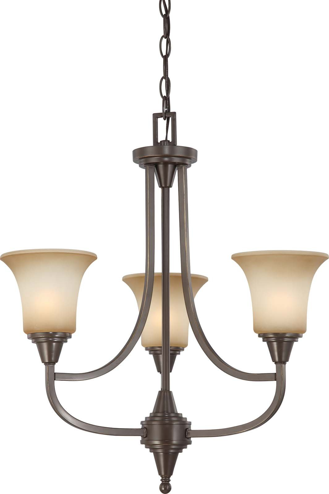 Nuvo Lighting 60/4165 Three Light Surrey Chandelier with Auburn Beige Glass, Vintage Bronze by Nuvo Lighting