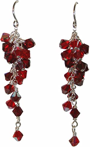 rose red and mellow brass dangle earrings