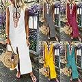Other-sey Women's Dress Summer Dresses Printed Sleeveless V-Neck Maxi Dress Split Hem Baggy Kaftan Long Dress