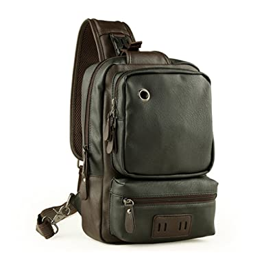0f5920020c72 LINGTOM Men's Unbalance Chest Pack Leather Multipurpose Backpack Crossbody Shoulder  Bag¬ Travel Sling Bag,