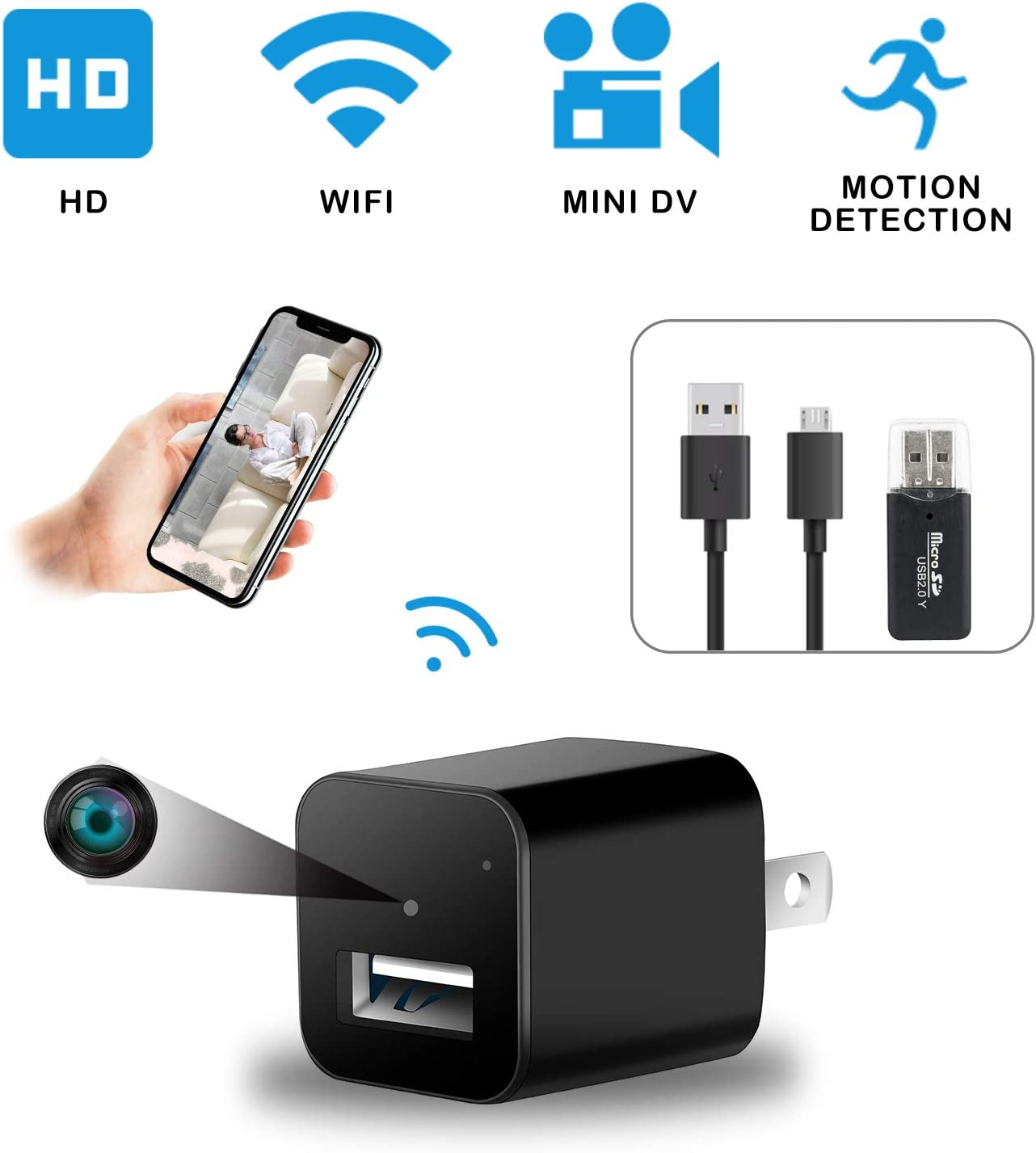 Hidden Spy Security Mini Camera – 2 Pack USB Charger Full HD 1080p Resolution Loop Recording, Motion Detection for Home, Office Surveillance and Security, Charge iPhone, Android Devices Nanny cam