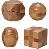 Mini Wood Brain Teaser Set of Four-Classic Designed Light Wood Stain - Wooden Brainteaser Puzzles & Fun Gifts