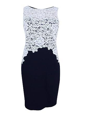 2ae42fb7 Lauren Ralph Lauren Womens Lace Colorblock Wear to Work Dress Navy 10 at  Amazon Women's Clothing store: