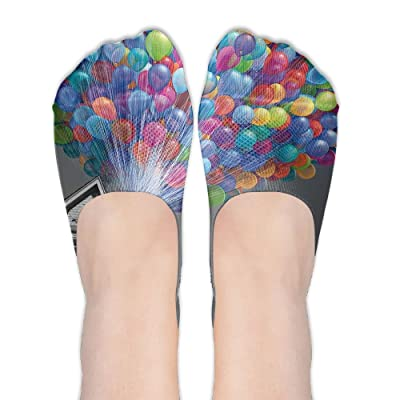 Colorful House Air Ballon DIY Printed Pattern Soft Low Cut Socks No-show Liner Invisible Polyester Cotton Sock For Female (One Pair)