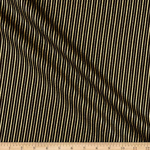 Benartex Kanvas Mixers Gold Metallic Stripes Black, Fabric by the Yard