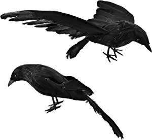 GEJRIO Halloween Realistic Crows, 2-Pack 12inch Halloween Black Feathered Crows, Large Handmade Crow Prop for Indoor Outdoor Ravens Birds Decoration (Standing and Flying Style)