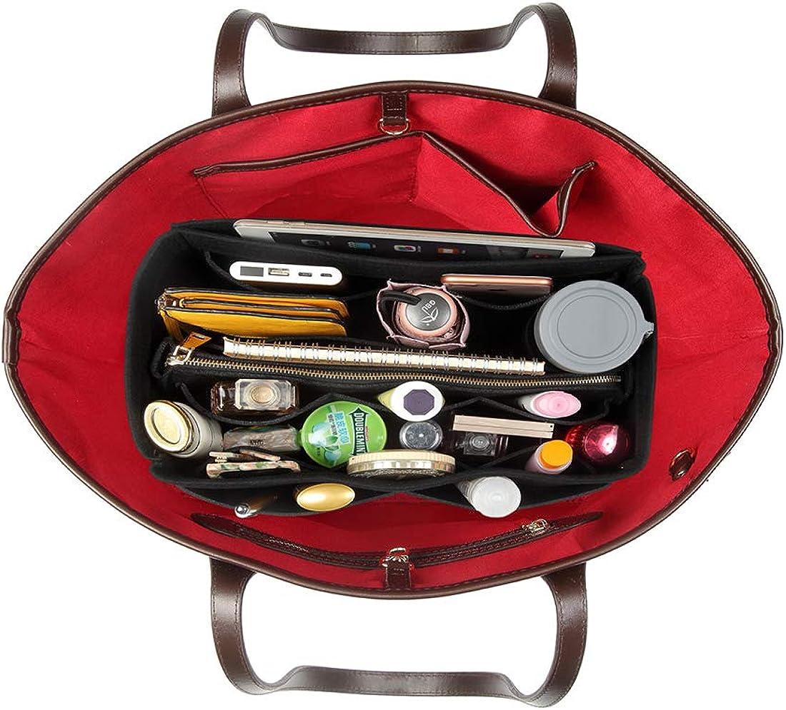 Bag Organizer with Zipper for Handbag Purse Tote Shaper WOMACO Purse Organizer Insert Felt Bag In Bag