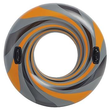 Intex - Rueda Hinchable con Asas, diámetro 122 cm, Naranja, Gris y Negro (56277EU)