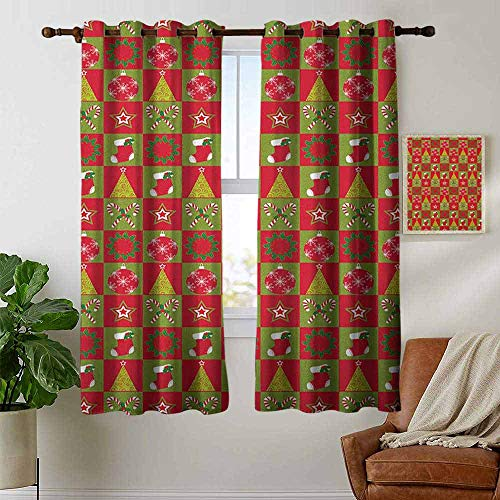 petpany Customized Curtains Christmas,Fireplace Socks for Surprise Stars Ornaments Triangle Pines Image, Olive Green Red and White,Blackout Thermal Insulated,Grommet Curtain Panel 1 Pair 42