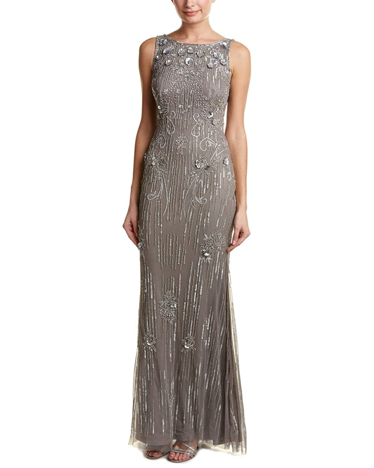 Theia Metallic Sleeveless Sequin Beaded Evening Gown Dress at Amazon ...