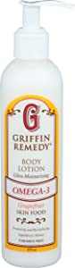 Griffin Remedy Omega-3 Body Lotion-Grapefruit Essential Oils and Organic MSM, Ultra Moisturizing, All Natural, Paraben Free, Sulfate Free 8 fl oz