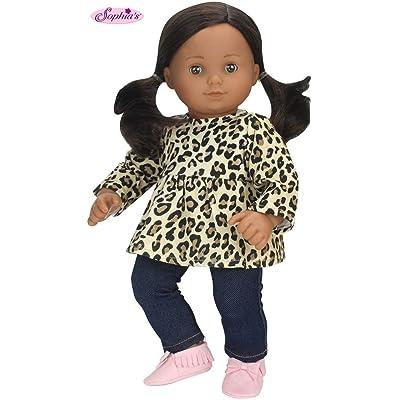Sophia's 15 inch Doll Clothing Cheetah Print Tunic & Leggings Fits 15 Inch American Girl Bitty Baby Dolls & More! 2 Pc Baby Doll Clothes Set with Cheetah Print: Toys & Games
