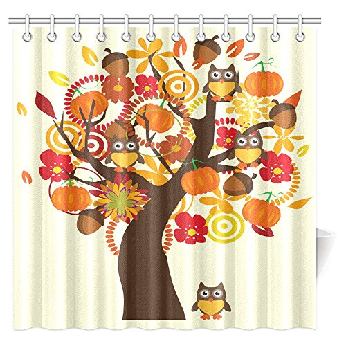 InterestPrint Retro Style Fall Tree with Flowers and Owl Birds Vintage Art Fabric Bathroom Shower Curtain with Hooks, 72 X 72 Inches Extra Long
