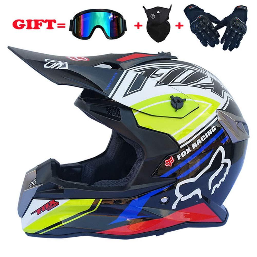 Helmet Motorcycle Motocross Helmets & Gloves & Goggles Standard Kids Quad Bike MTB Go Karting, 18 Color Styles,14,S
