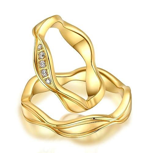 Bishilin Chapado en 18K Oro Irregularidad Forma Anillos de Boda Regalo para Novios(Precio de