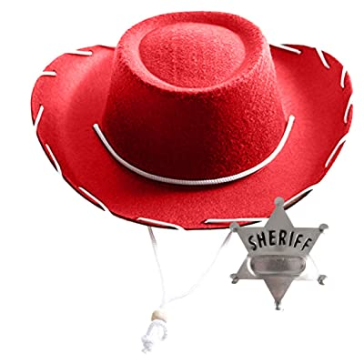 InPrimeTime Children's Red Cowboy Hat with Metal Sheriff's Badge Bundle: Clothing