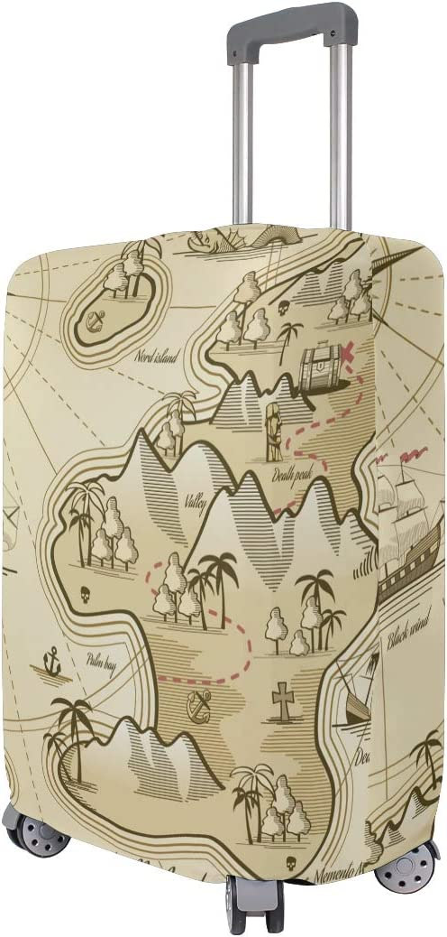 FOLPPLY Antique Nautical World Map Compass Luggage Cover Baggage Suitcase Travel Protector Fit for 18-32 Inch