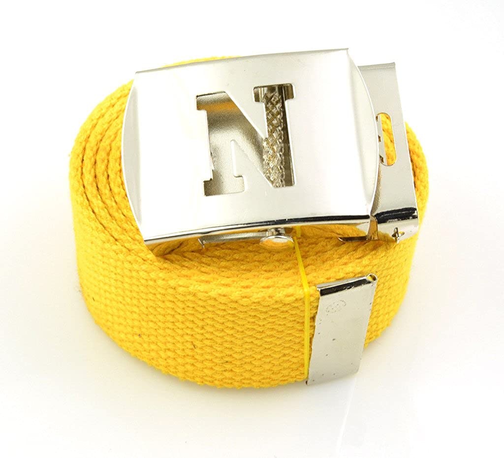Capital Initial N Canvas Military Web Belt /& Silver Buckle 60 Inch