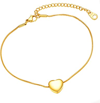 Anniversary Gift Ankle Bracelet Personalized Gift Heart Ankle Bracelet Foot Jewelry Love Anklet Foot Bracelet Gold Anklet