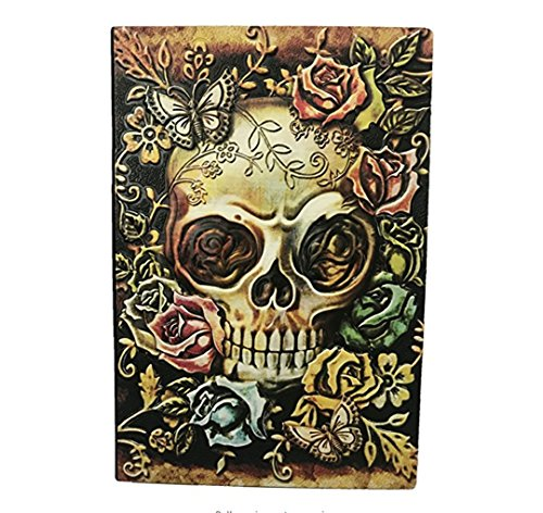 World Traveler Style Leather Embossed Journal Diary Notebook Retro Animal Notebook (A5, 100 Sheets) (Multicolored Skull)