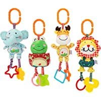TUMAMA Baby Plush Rattles Set , Stroller Toys for Car Seat Hanging Toy for 0 3 6 9 to 12 Months, Christmas Birthday…