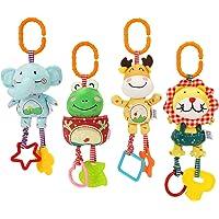 TUMAMA 4 Pack Baby Handbells Rattles Soft Plush Development Toys for Newborn Infant Birthday Present,Easter Gifts