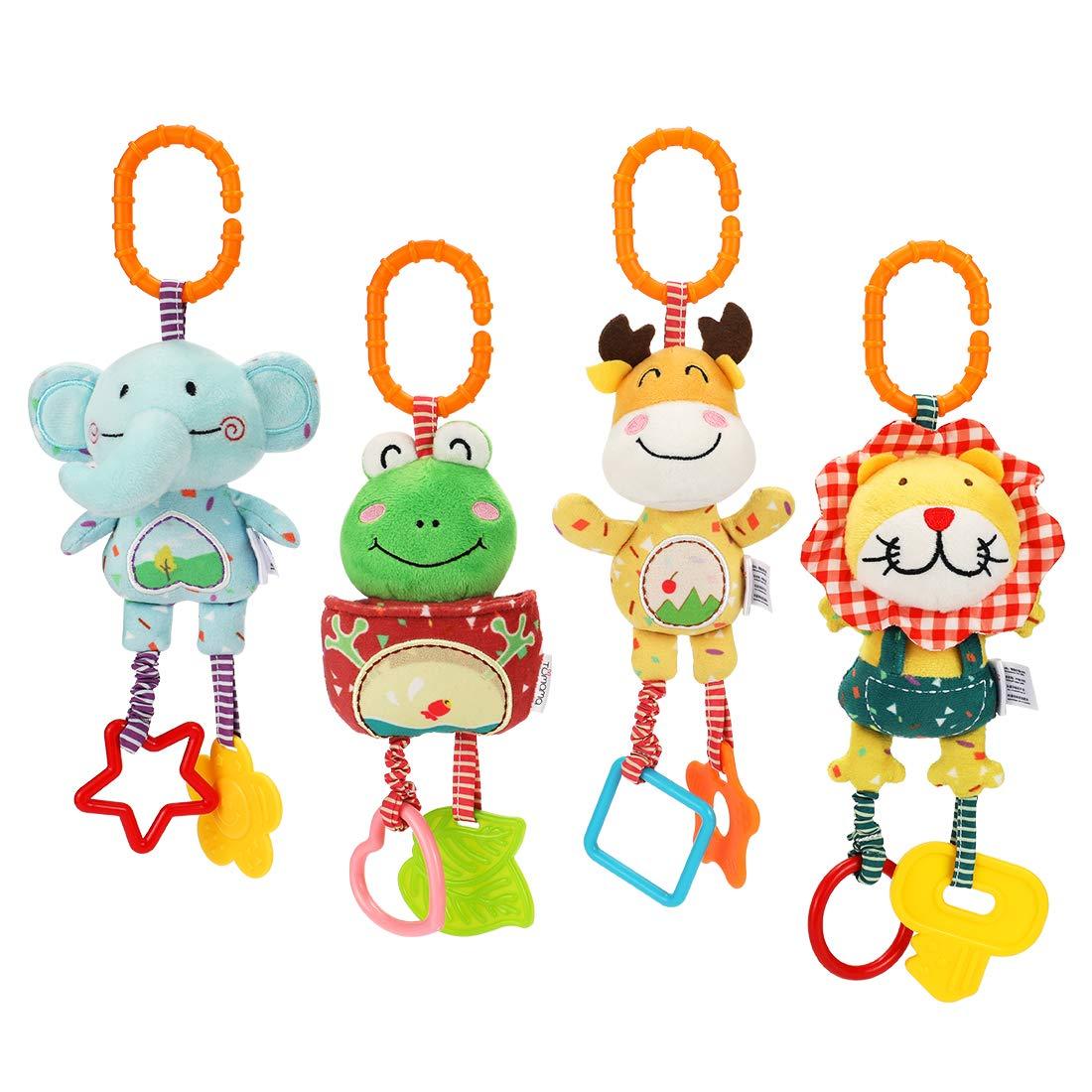 TUMAMA 4 Pack Baby Handbells Rattles Soft Plush Development Toys for Newborn Infant Birthday Present by TUMAMA