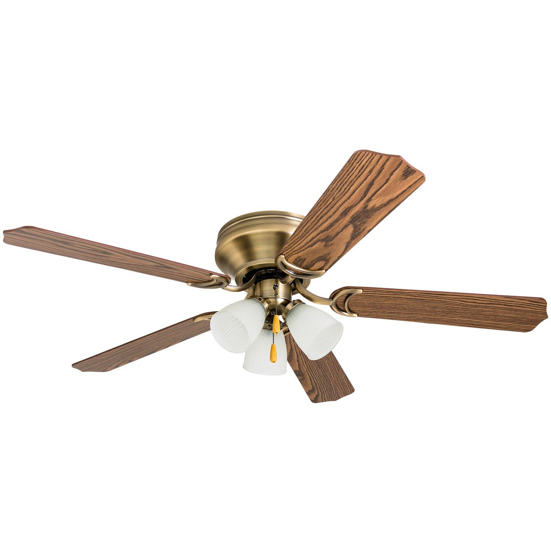 Prominence Home 50866 Tilbrook Hugger LED Ceiling Fan, Indoor Flush-Mount Low-Profile, 52'', Antique Brass