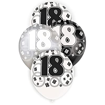 """Unique Party 80892 - 12"""" Latex Glitz Black and Silver 18th Birthday Balloons, Pack of 6: Toys & Games"""