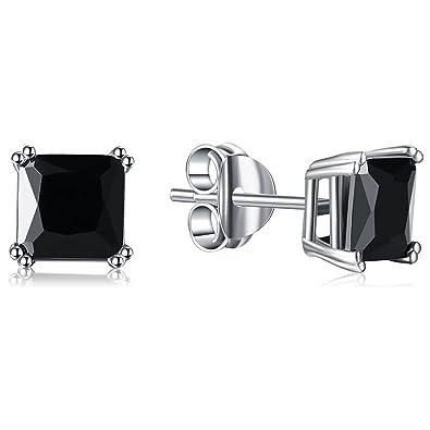 3bbd16a8e59ec Lanroque Sterling Silver 6mm Princess Cut Cubic Zirconia Stud Earrings for  Men and Women