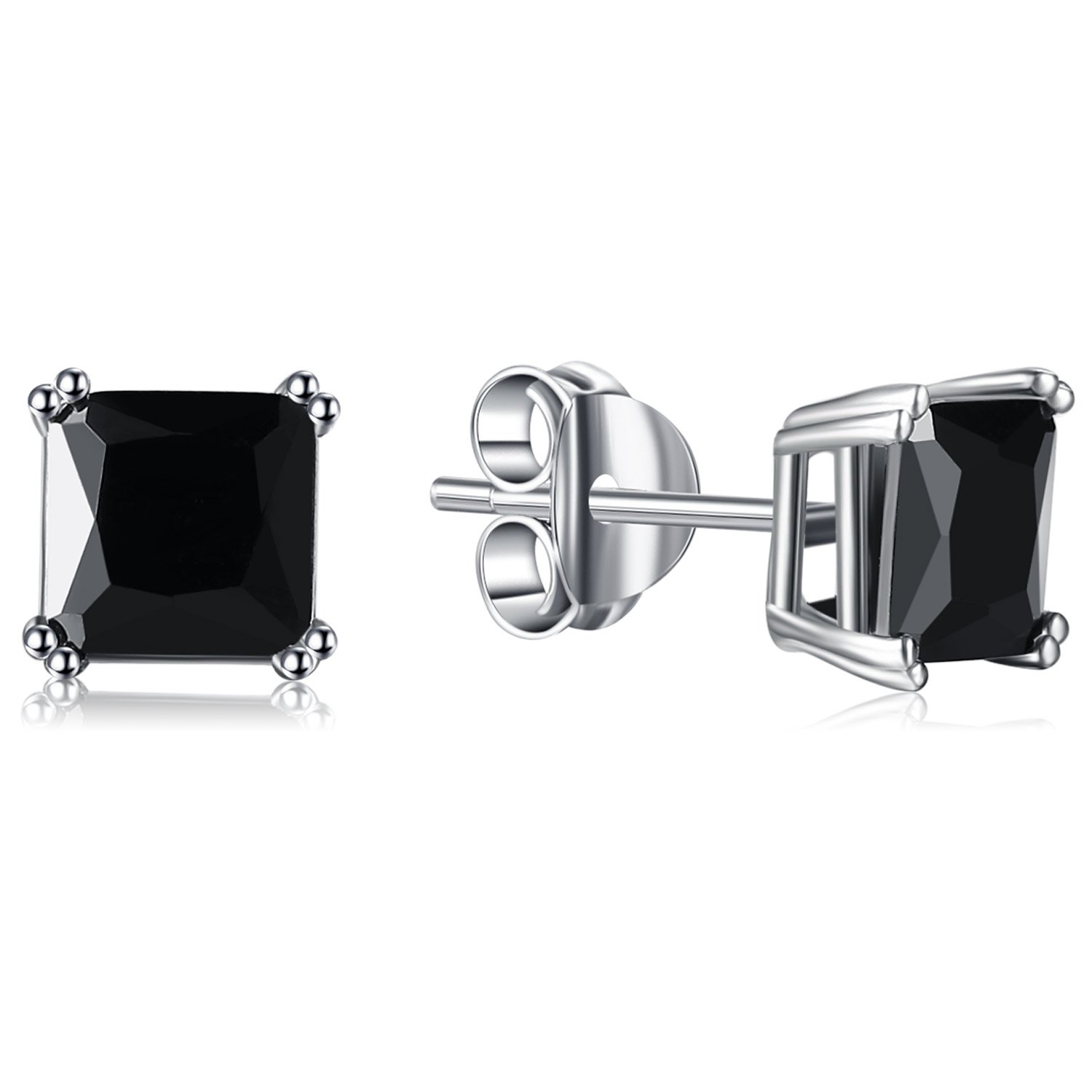 Lanroque Sterling Silver 6mm Princess Cut Black Diamond Cubic Zirconia Stud Earrings for Men and Women