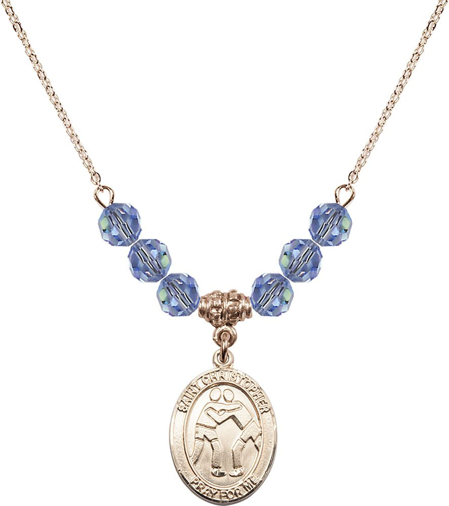 Gold Plated Necklace with 6mm Light Sapphire Birthstone Beads & Saint Christopher/Wrestling Charm. by F A Dumont