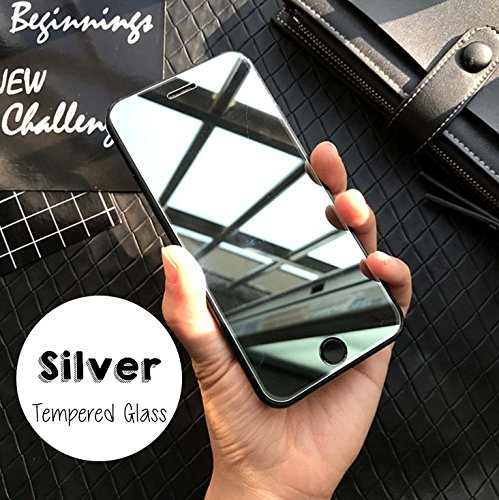 Quality Screen Compatible with iPhone Mirror Temper Glass Screen Protector (Silver, 6/7/8 Plus)