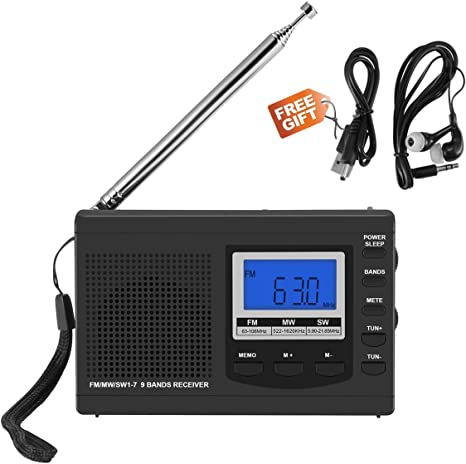 Am FM Radio Pequeña Portatil,Frontoppy Mini Radio Receptor FM Reloj Despertador con Auriculares/Antena Externa/Altavoz/Indicador LED, DC 5V Cable USB/Batería para Caminar Senderismo Running: Amazon.es: Electrónica