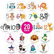 LittleLight | 20 pack of Baby Monthly Stickers with Animals. My First Growth and Holiday Onesie Stickers for Boy, Girl, Baby.