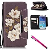 Galaxy S6 Case, Galaxy S6 Wallet Case, Firefish Stand Flip Folio Wallet Cover Shock Resistance Protective Shell with Cards Slots Magnetic Closure for Samsung Galaxy S6-Begonia